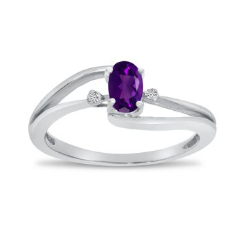 10k White Gold Oval Amethyst And Diamond Wave Ring
