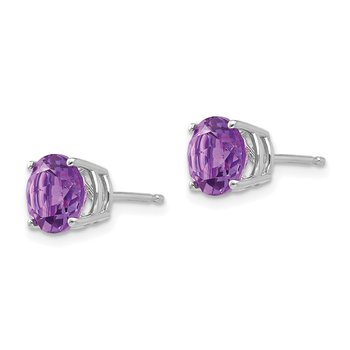 14k White Gold 7mm Amethyst Earrings