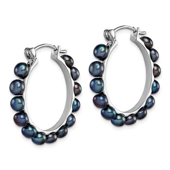 Sterling Silver Rhodium-plated 4-5mm Black FWC Pearl Hoop Earrings