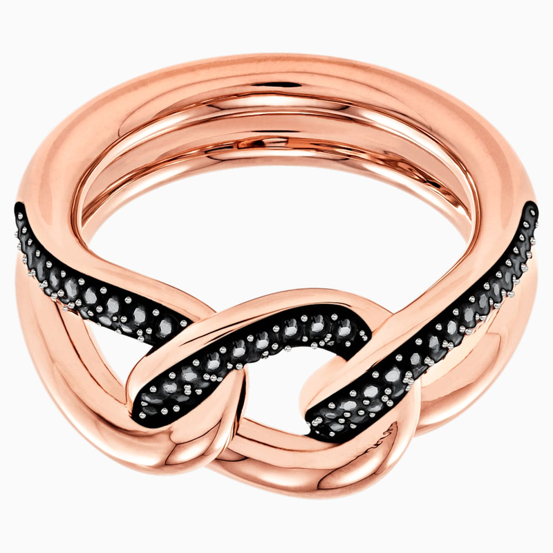 Swarovski Lane Motif Ring, Black, Rose-gold tone plated