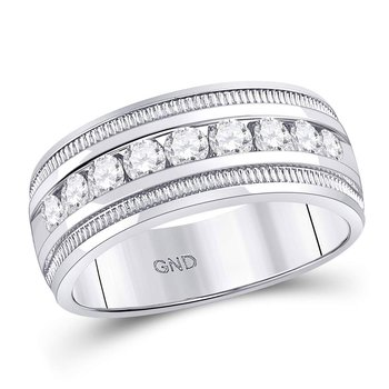 14kt White Gold Mens Round Diamond Single Row Textured Wedding Band Ring 1.00 Cttw