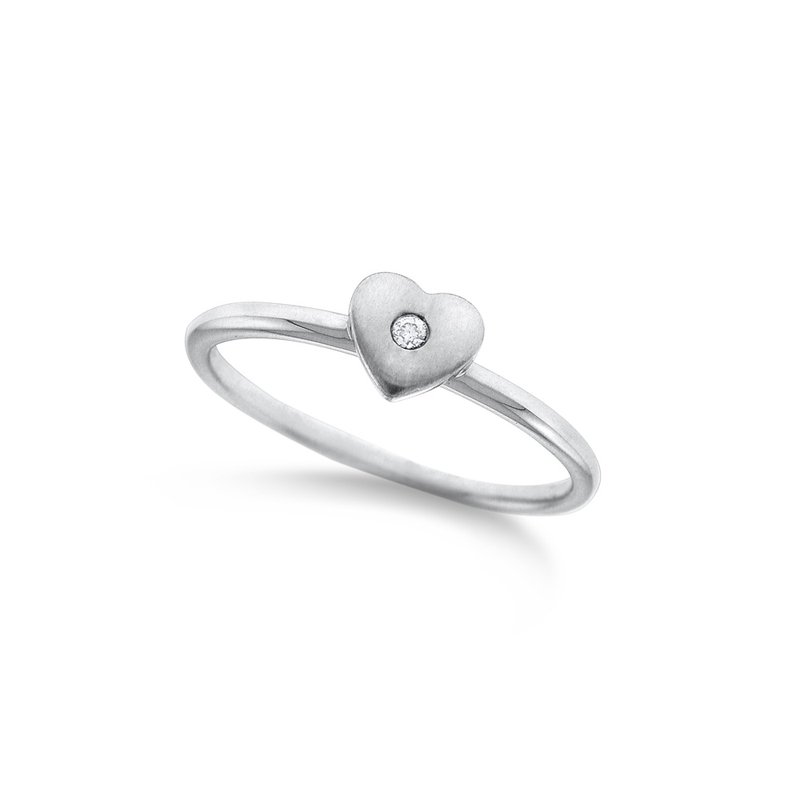 KC Designs Diamond Mini Heart Stack Ring in 14K White Gold with 1 Diamonds Weighing .01 ct tw