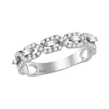 14kt White Gold Womens Round Diamond Twist Stackable Band Ring 1/3 Cttw