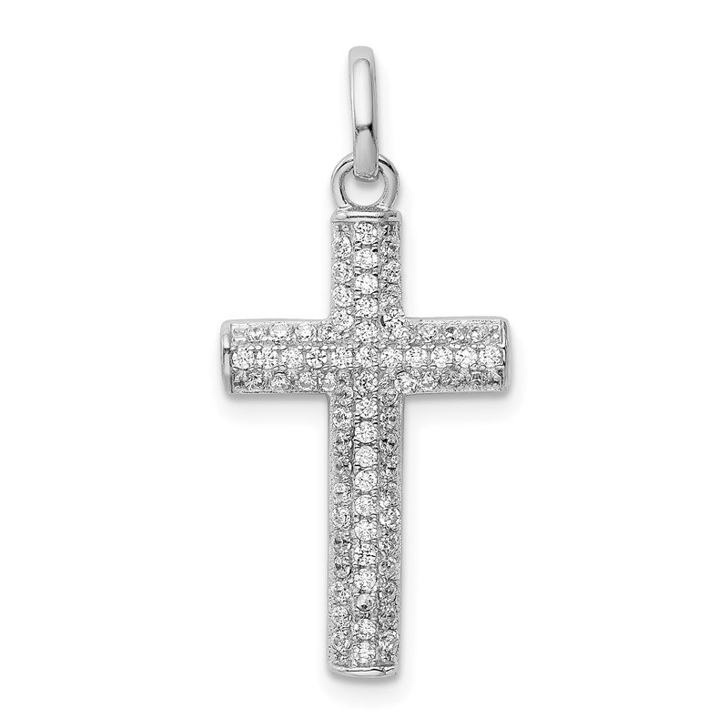 Quality Gold Sterling Silver Rhodium-plated CZ Latin Cross Pendant