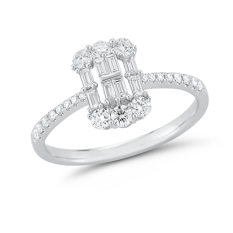 Shula NY Classic design round & baguette Diamonds Ring 0.60C TW