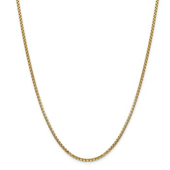 14k 2.45mm Semi-Solid Round Box Chain
