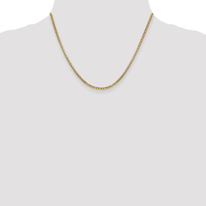 Quality Gold 14k 2.45mm Semi-Solid Round Box Chain