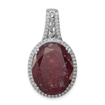 Sterling Silver Rhodium-plated CZ and Cracked Red CZ Pendant