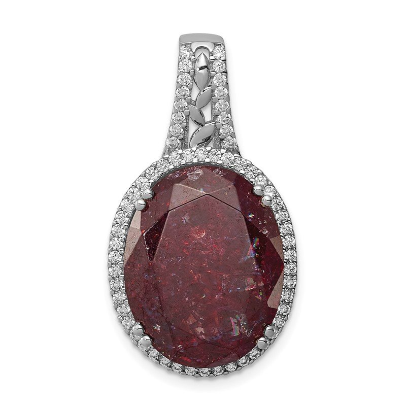 Quality Gold Sterling Silver Rhodium-plated CZ and Cracked Red CZ Pendant