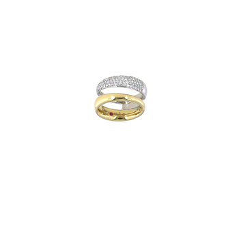 18Kt Yellow And White Gold 2 Row Diamond Ring