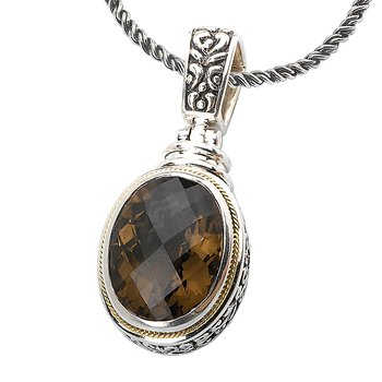 18K/SILVER SMOKY QTZ OVAL     PENDANT SQ-18X13MM