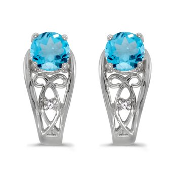 14k White Gold Round Blue Topaz And Diamond Earrings