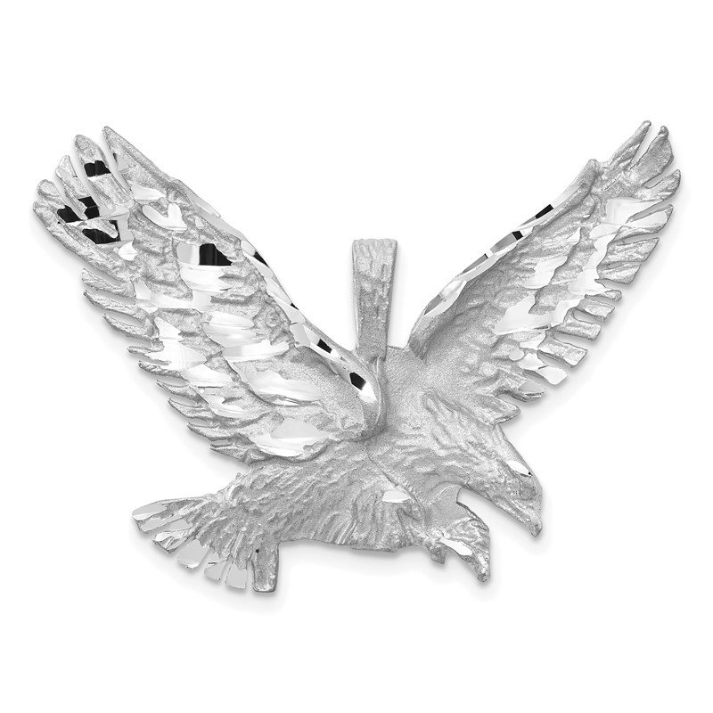 Quality Gold 14k White Gold Polished Diamond-cut Eagle Pendant