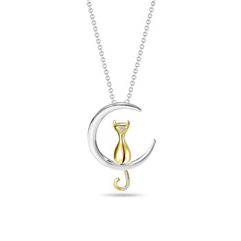 Cat & Moon Diamond Pendant