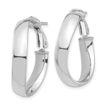 14k White Gold High Polished 5mm Wavy Omega Back Hoop Earrings
