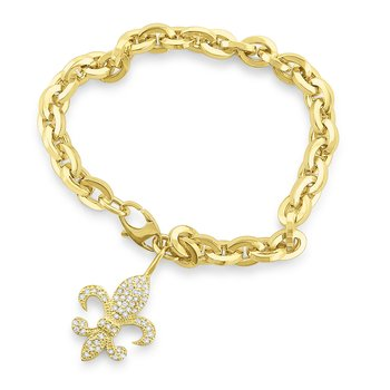 14k Gold and Diamond Fleur de Lis Link Bracelet, Large