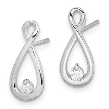 Sterling Silver Rhodium-plated CZ Infinity Post Earrings