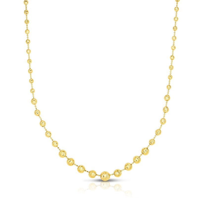 Royal Chain 14K Yellow Gold  Graduated Bead Necklace