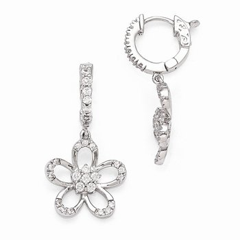 Sterling Silver Rhodium Plated CZ Hinged Hoop Dangle Flower Earrings