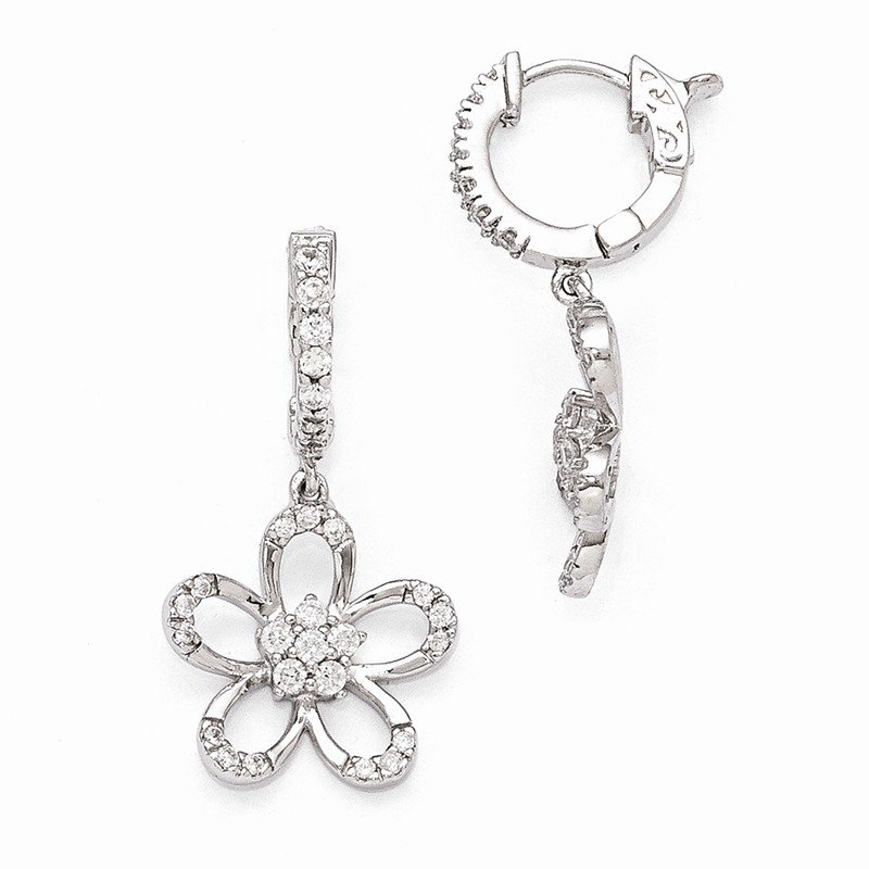 Quality Gold Sterling Silver Rhodium Plated CZ Hinged Hoop Dangle Flower Earrings
