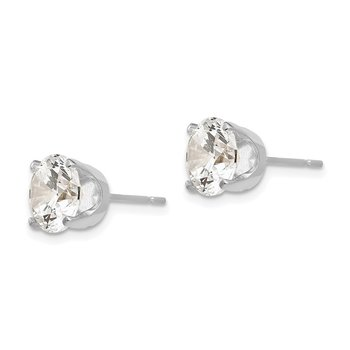 14k White Gold 8mm CZ stud earrings
