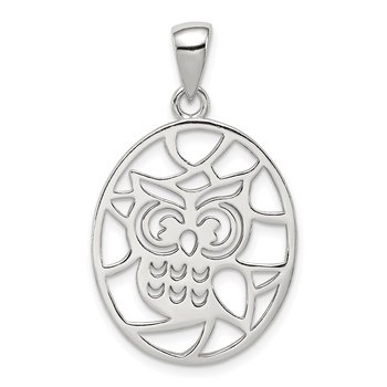 Sterling Silver Cut-out Owl Pendant