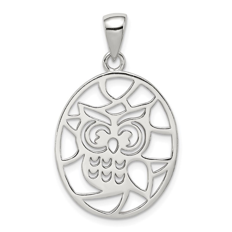 Quality Gold Sterling Silver Cut-out Owl Pendant