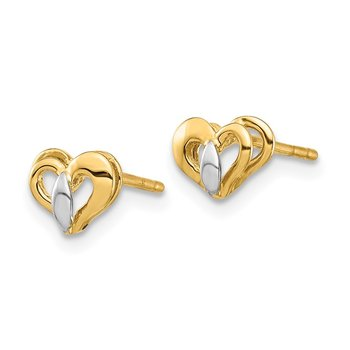 14K & White Rhodium Heart Post Earrings