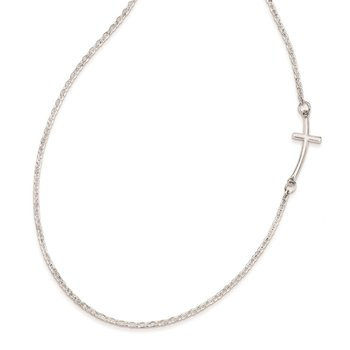 Sterling Silver Rhodium-plated Small Off-Set Sideways Curved Cross Necklace