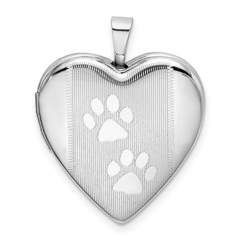 Sterling Silver Rhodium-plated Textured & Polished Paw Prints Heart Locket