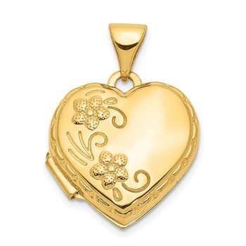 14k 15mm Floral Heart Locket