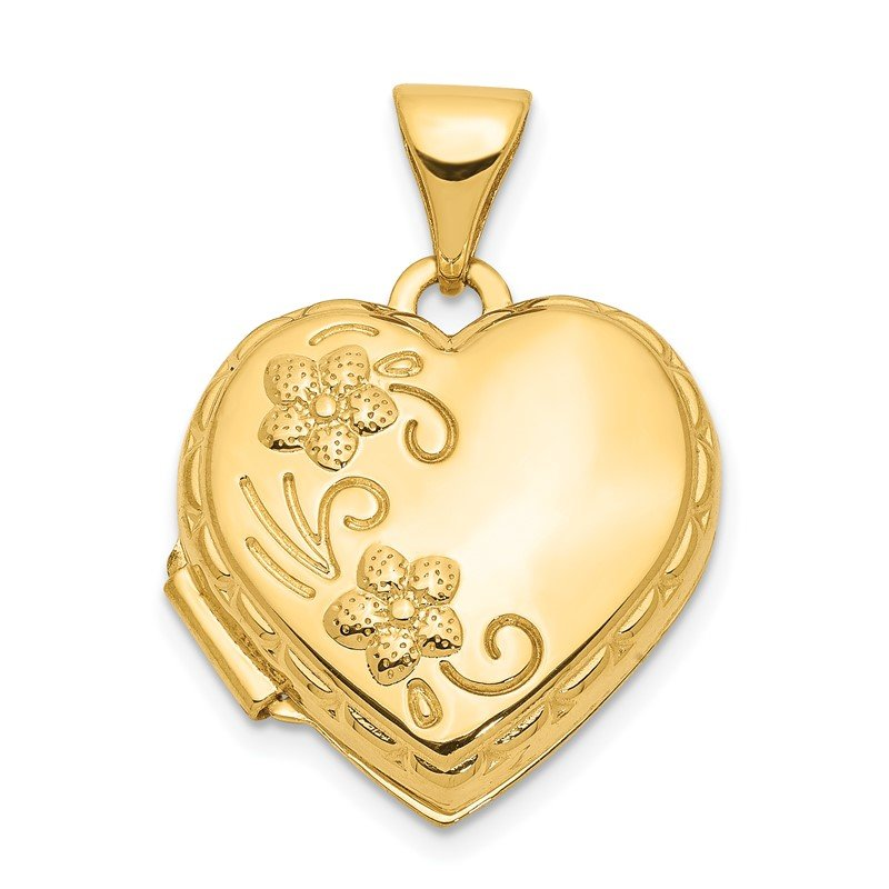 Quality Gold 14k 15mm Floral Heart Locket