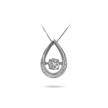 10K WG Pear Shape Dancing Diamond Pendant in Micro Prong Setting