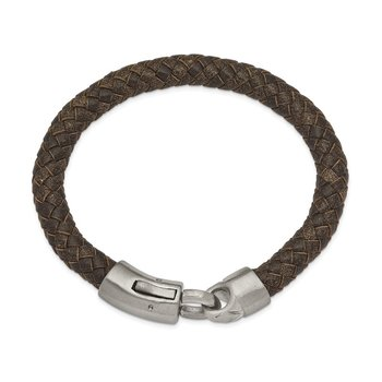 Stainless Steel Brushed Brown Leather 8.25in Bracelet