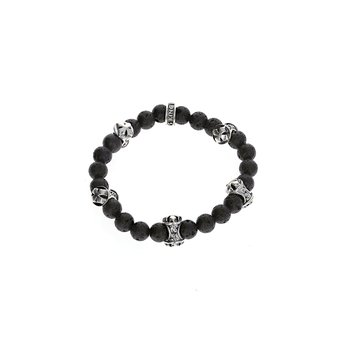 8Mm Lava Rock Bracelet W/Mb Cross Logo Beads