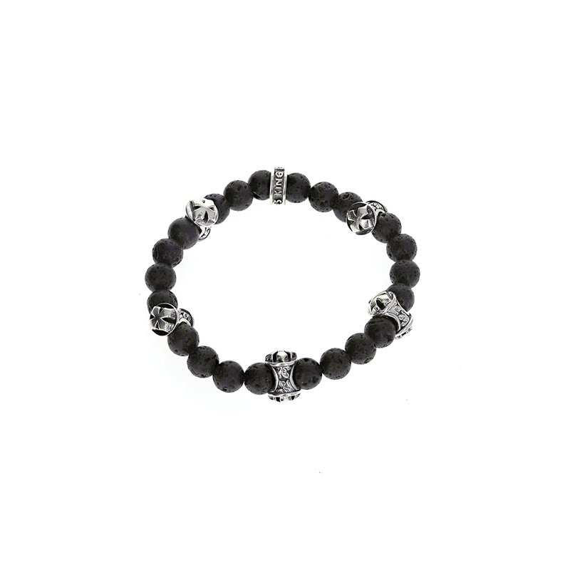 King Baby 8Mm Lava Rock Bracelet W/Mb Cross Logo Beads