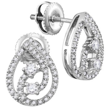 10kt White Gold Womens Round Diamond 2-stone Teardrop Screwback Earrings 1/4 Cttw