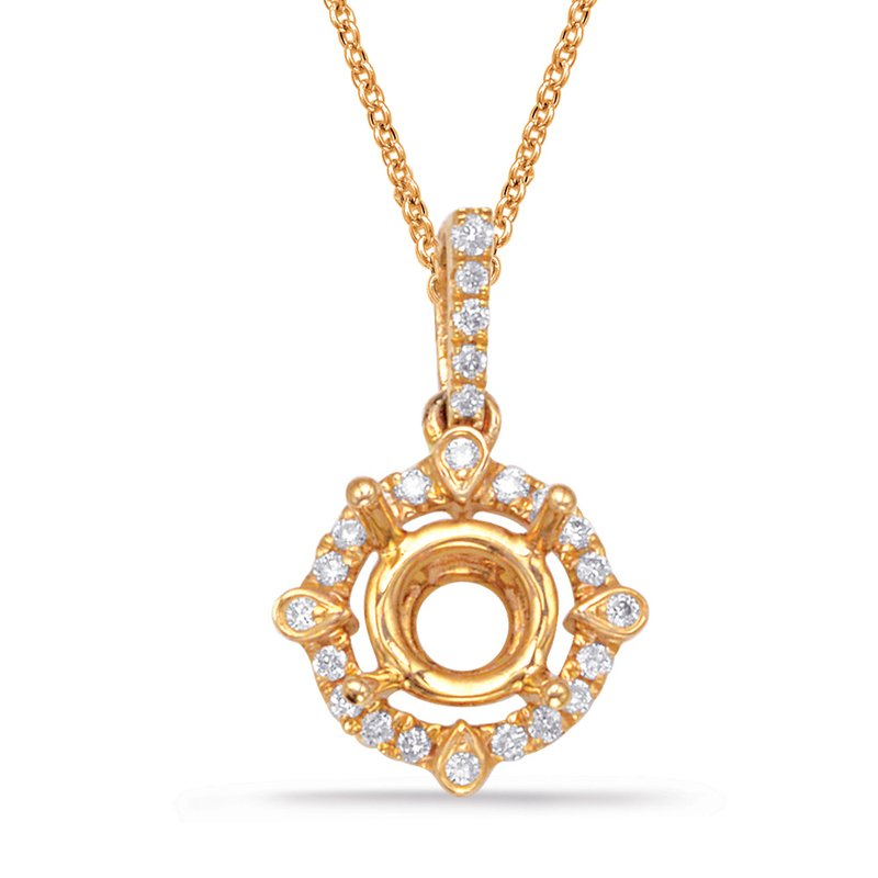 S. Kashi  & Sons Diamond Pendant For .75ct  Round Stone