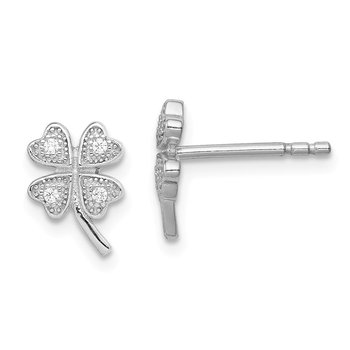 Sterling Silver Rhodium-plated Polished CZ 4 Clover Post Earrings