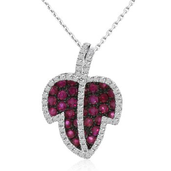 14k White Gold Ruby Leaf And Diamond Pendant