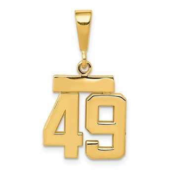14k Small Polished Number 49 Charm