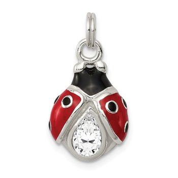 Sterling Silver CZ Enameled Polished Lady Bug Charm