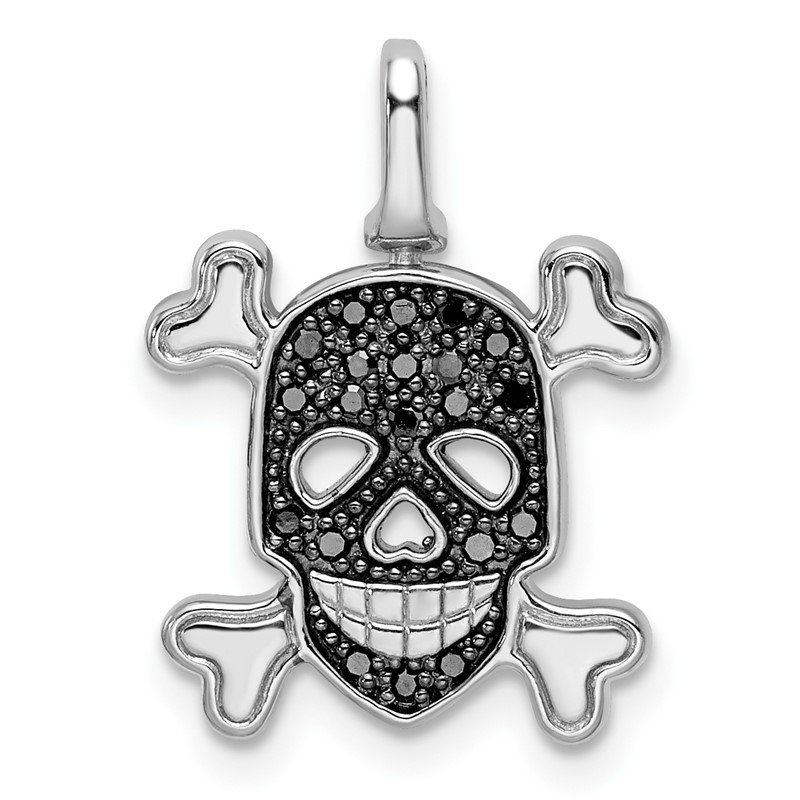 JC Sipe Essentials Sterling Silver Rhodium 0.2ct. Blk & Wht Dia. Reversible Skull Pendant