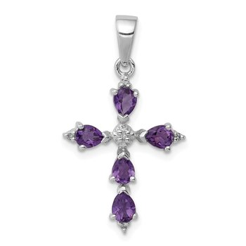 Sterling Silver Rhodium Pear Amethyst Cross Pendant