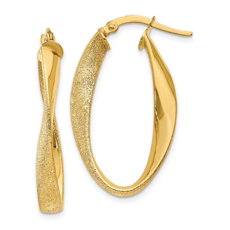 Quality Gold 14ky Oval Twist Hoop Earrings