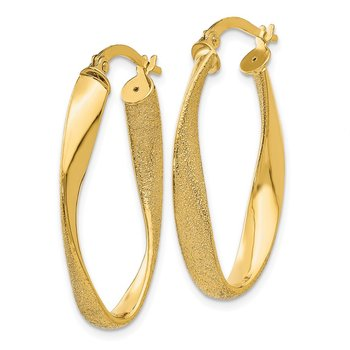 14ky Oval Twist Hoop Earrings