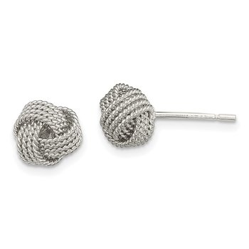 Sterling Silver Textured Love Knot Post Earrings