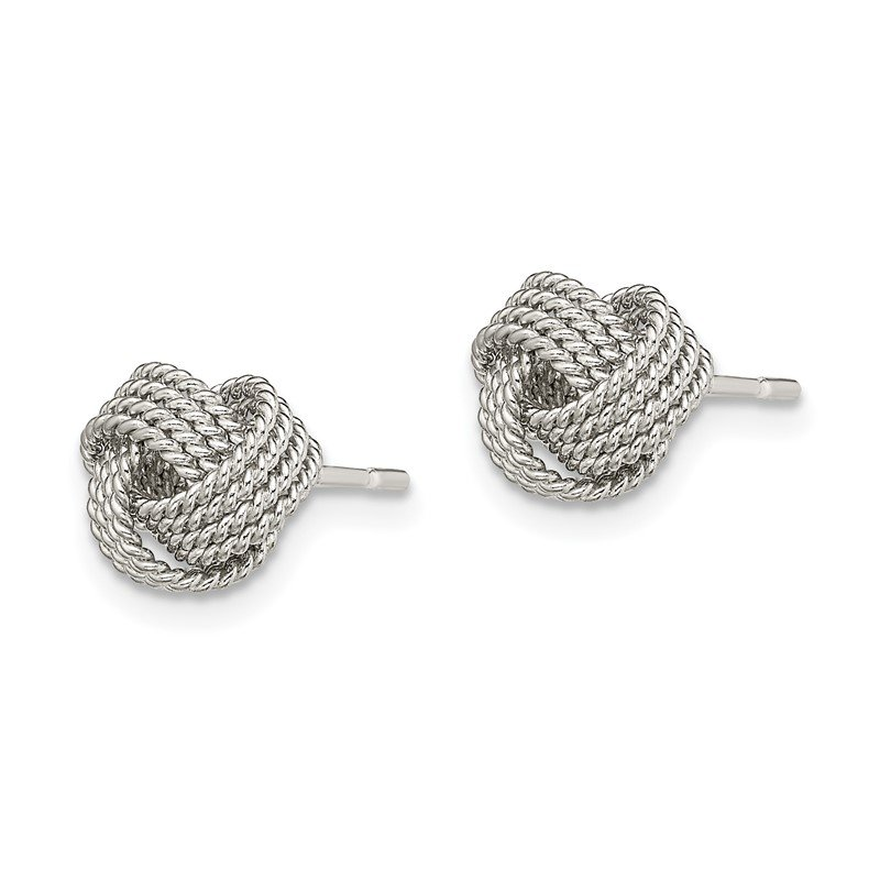 Sterling Silver Textured Love Knot post Boucles d/'oreilles QE13417