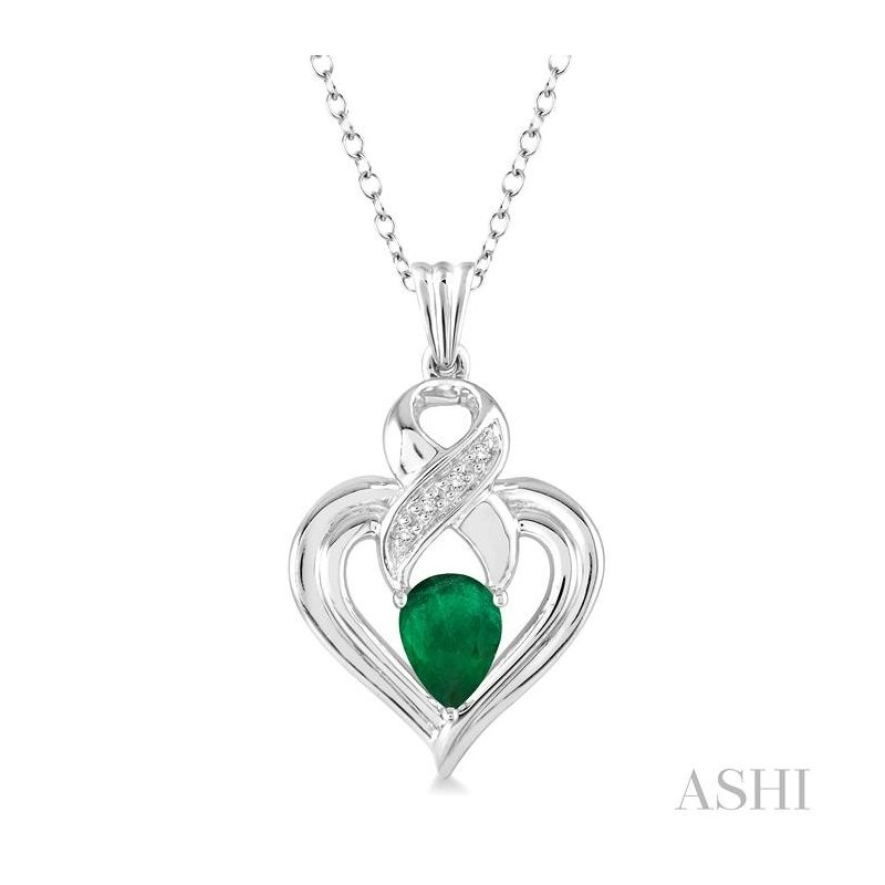 ASHI silver heart shape gemstone& diamond pendant