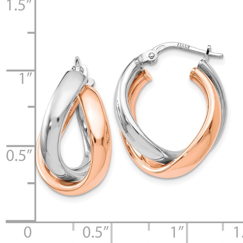 Leslie's Leslie's Sterling Silver Rose Gold-plated Double Hoop Earrings